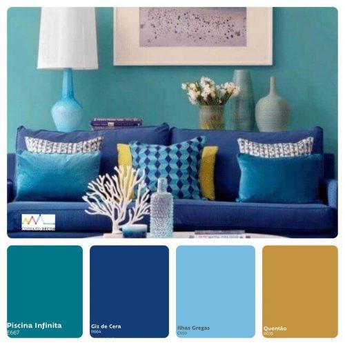 Combinação de cores by Conexão Décor. Tons de azul combinando com mostarda.