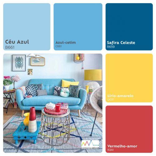 Combinação de cores by Conexão Décor. Tons de azul combinando com amarelo.