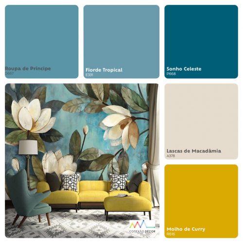 Combinação de cores by Conexão Décor. Tons de azul e mostarda.