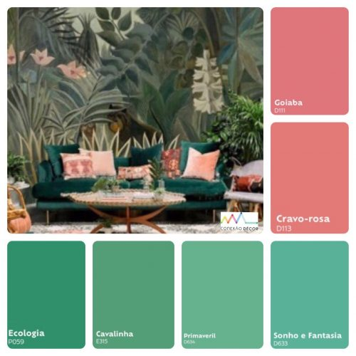 Combinação de cores by Conexão Décor. Tons de verde com rosa.