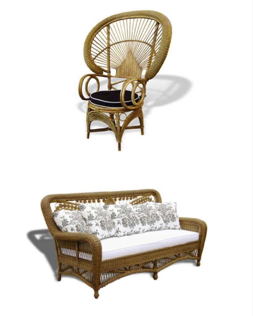 Outlets de decoração, loja Armando Cerello. Versão da cadeira peacock e sofá em vime natural.