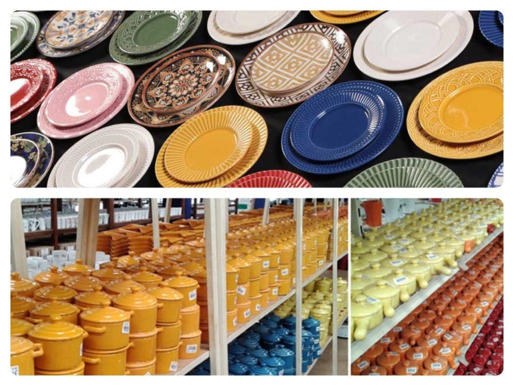 Outlets de decoração, loja Porto Ferreira. Pratos coloridos.