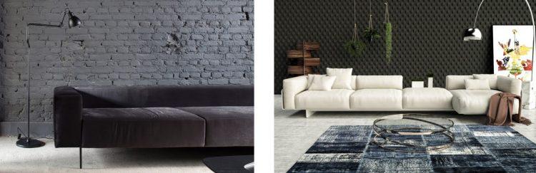 Sofá Kate, de Simone Coste; e sofá Lonzo, de Jayme Bernardo com fabricação América Móveis para América Móveis