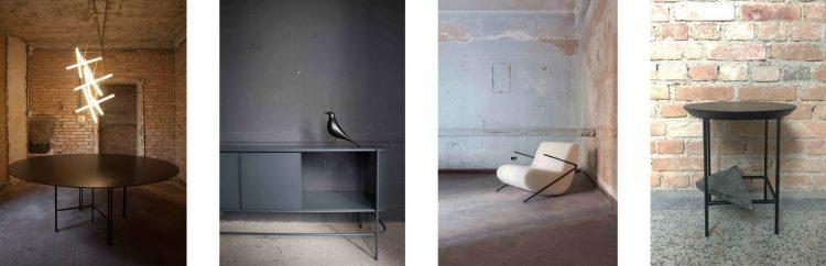 Mesa de jantar e o buffet da linha Dessau, poltrona Live e mesinha Catwalk, de Giorgio Bonaguro da America Móveis