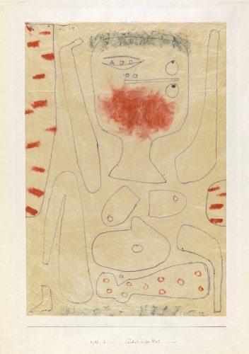 Paul Klee | Gebet in der Not, 1939, 2 | Prayer in Time of Trouble| Oração em tempo de necessidade | lápis indelével, giz vermelho e giz sobre papel sobre cartão | 50 x 34,3 cm | Zentrum Paul Klee, Berna