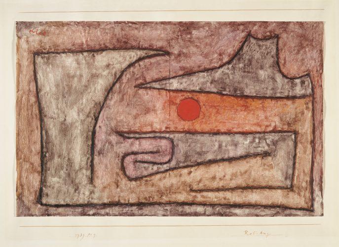 Paul Klee | Rot-Aug, 1939, 129 | Red Eye | Olho vermelho | Aquarela sobre papel revestido sobre cartão | 26,8 x 42,1 cm | Zentrum Paul Klee, Berna