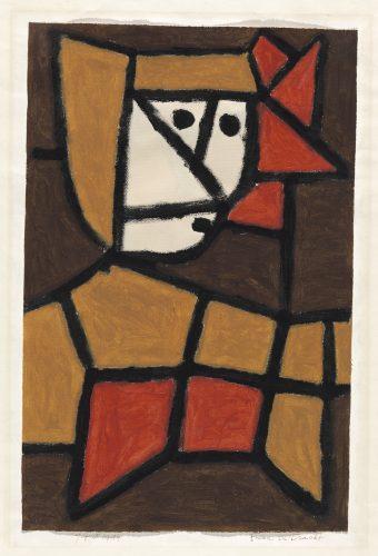Paul Klee | Frau in Tracht, 1940, 254 | Woman in Traditional Costume | Mulher com roupa típica | Cola colorida sobre papel sobre cartão | 48 x 31,3 cm | Zentrum Paul Klee, Berna