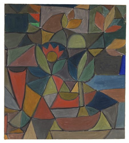 Paul Klee | Ohne Titel (Komposition mit Blüten und Blättern), um 1932 | Untitled (Composition with Flowers and Leaves) | Sem Título (composição com flores e folhas) | óleo sobre cartão; moldura original | 32 x 28,8 cm | Zentrum Paul Klee, Berna