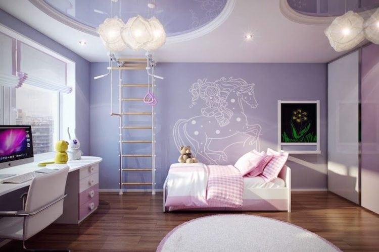 Os signos e suas cores na decoração, cor lilás para o signo de touro. Quarto de criança com a parede principal pintada em lilás.