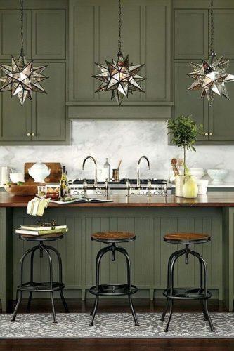 Os Signos e suas cores na decoração. Cozinha em verde militar do signo de capricórnio.