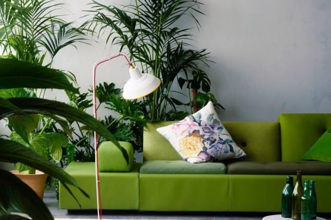 Os Signos e suas cores na decoração. Sala do virginiano com estilo urban jungle e muito verde