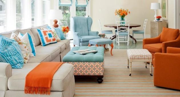 Signos e suas cores na decoração. A cor laranja do signo de Leão, foi usada para decorar a sala , nas poltronas e mantas.