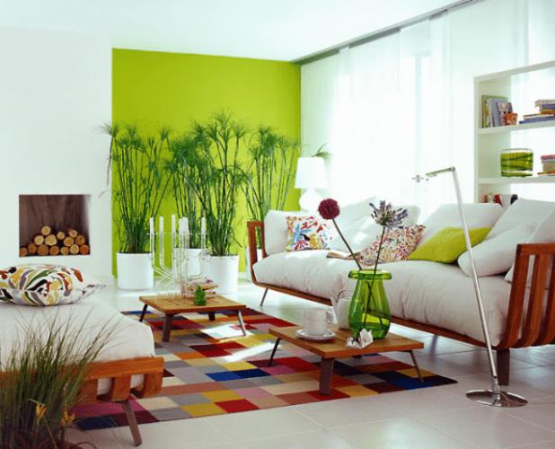 Os Signos e suas cores na decoração. Libra é a cor verde água que decora a parede de fundo.