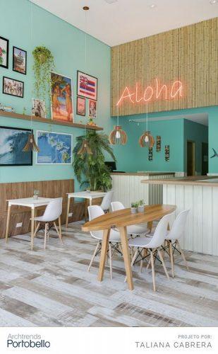 Os Signos e suas cores na decoração. Libra é a cor verde água, restaurante com a parede nessa cor.