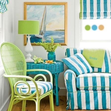 Os Signos e suas cores na decoração. Libra é a cor verde água, cor na poltrona que decora a sala.