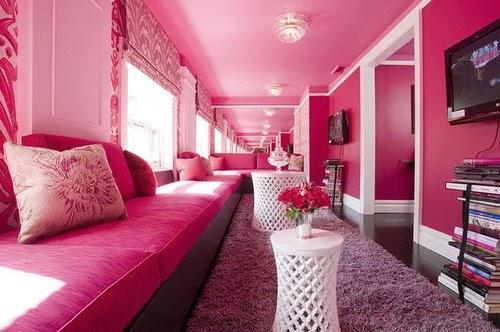 Os Signos e suas cores na decoração. Peixes cor rosa. SALA TODA PINTADA NESSA COR