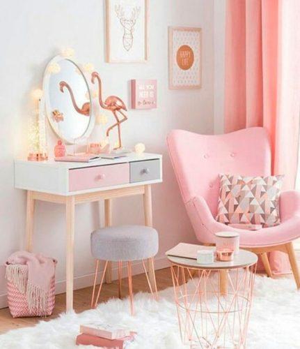 Os Signos e suas cores na decoração. Peixes cor rosa, quarto decorado