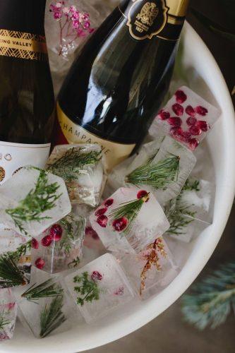 Recebendo com vinho. Balde de gelo, com gelo enfeitado com frutas