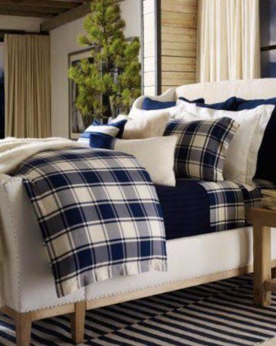 Xadrex na decoração. Roupa de cama xadrez em azul e branco da marca Ralph Lauren