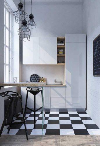 Xadrex na decoração. Cozinha pequena com piso xadrez em preto e branco