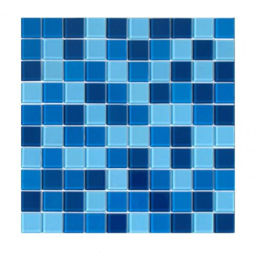 Xadrex na decoração.  Placa de pastilha de vidro em azul