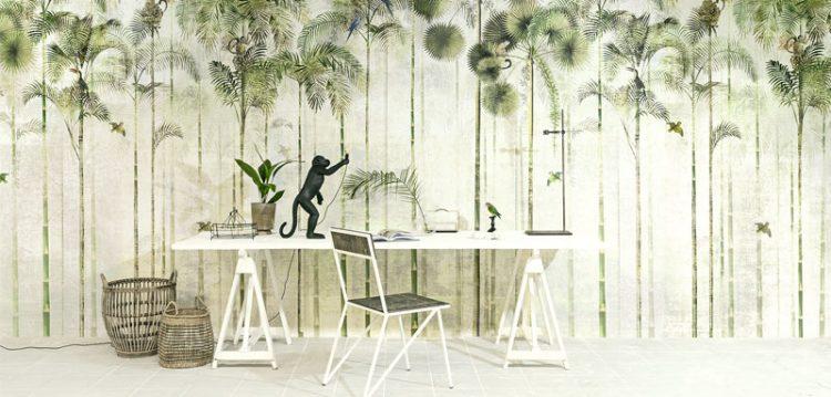 Decór Naturalista: Verde que te quero verde. Papel de parede estampado com palmeiras