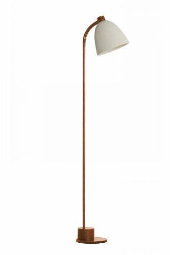Luminária de pé com base em cobre fininha e cúpula em cerâmica