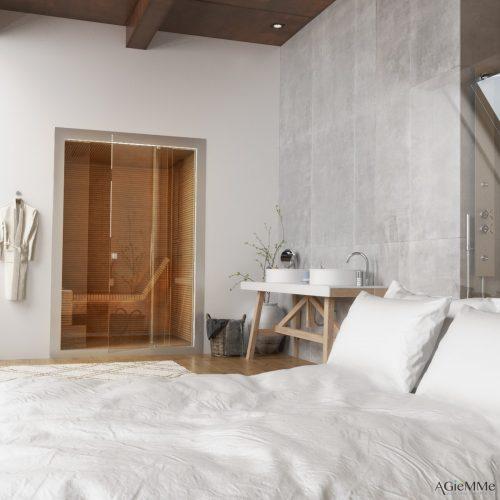 Sunas seca e a vapor com design, Sauna seca toda em madeira ripada em um pequeno espaço que tem porta de correr anexada ao quarto todo claro.