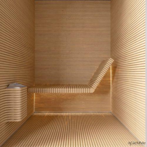 Sunas seca e a vapor com design, Sauna seca toda em madeira ripada.