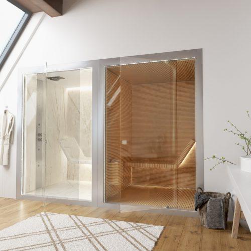 Sunas seca e a vapor com design, Sauna seca toda em madeira ripada e a vapor toda revestida em mármore.