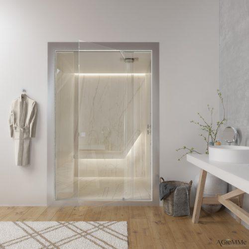 Sunas seca e a vapor com design, Sauna  a vapor toda revestida em mármore que da para o quarto