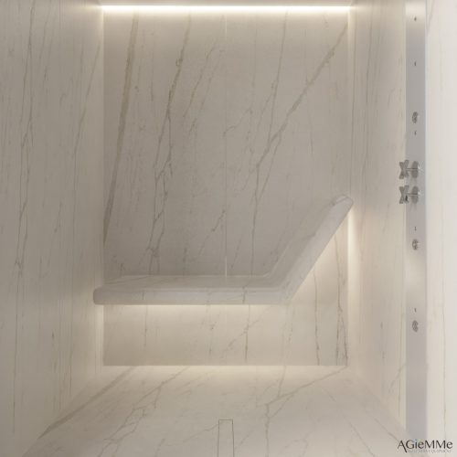Sunas seca e a vapor com design, Sauna seca toda vapor toda revestida em mármore com banco no fundo. Espaço pequeno quadrado.