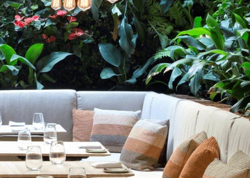 Design Biofílico: Arquitetura que transforma a sua vida. Restaurante com parede verde em volta. Plantas e flores
