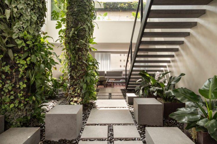 Design Biofílico: Arquitetura que transforma a sua vida. Jardim interno de uma casa com colunas de plantas