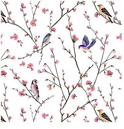 cerejeira e passarinho no papel de parede