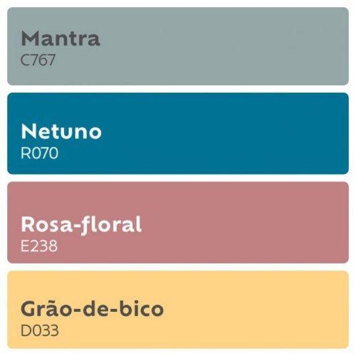 Combinação de tons de cores, cinza, azul, rosa e amarelo