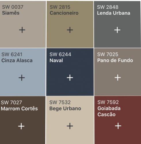 Combinação de tons de cores