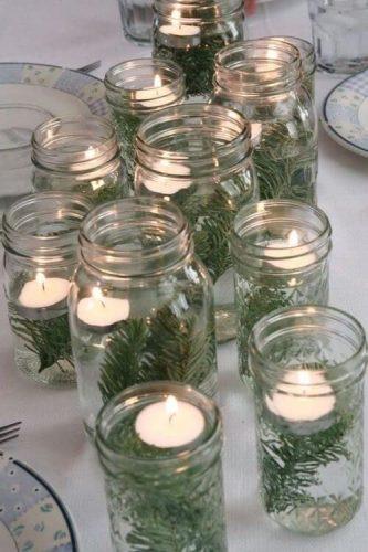 DIY Natal, pote de vidro com vela e raminho verde. INSPIRAÇÃO E SUPER DICAS PARA A SUA MESA DE NATAL 2019