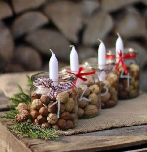 DIY Natal, pote de vidro com nozes dentro e uma vela no meio. INSPIRAÇÃO E SUPER DICAS PARA A SUA MESA DE NATAL 2019