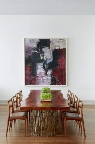 Loft em NY, mesa de jantar em madeira , cadeiras vintage em jacaranda