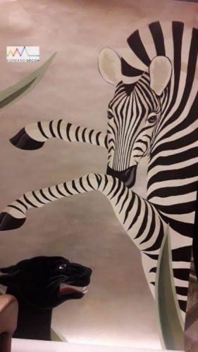 Papel de parede pintado á mão, zebra .
