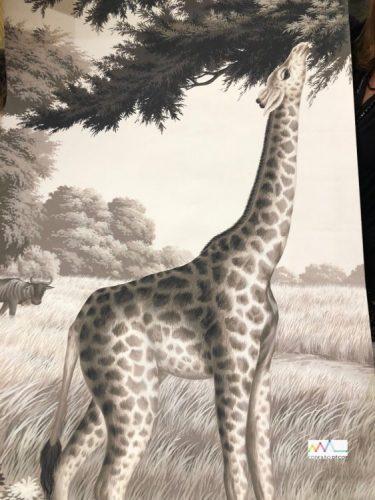 Papel de parede pintado á mão, girafa no campo, na cor preto e branco