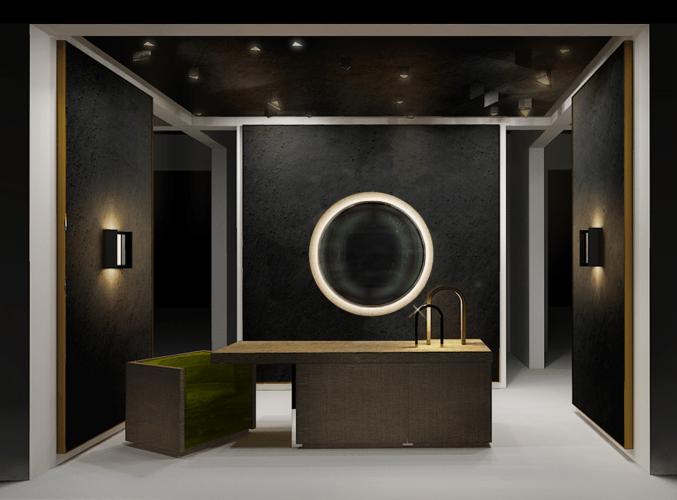 Algumas das novas apostas do design na M&O. Imagem de uma bancada de banheiro com uma poltronas encaixada