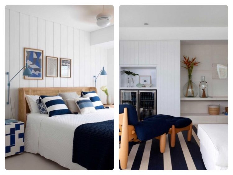 Estilo Navy na decoração, Quarto com lençol branco e almofadas listradas de azul e branco, na sala, tapete listrado e azul e branco