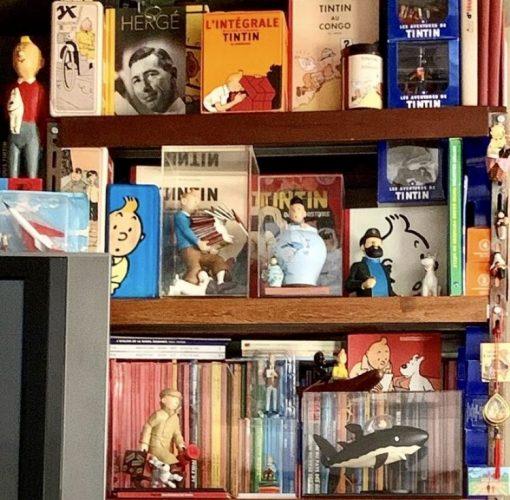 Paixões do arquiteto Chicô Gouvea, vários bonecos, livros e cds do personagem Tintin na estante da casa do arquiteto.