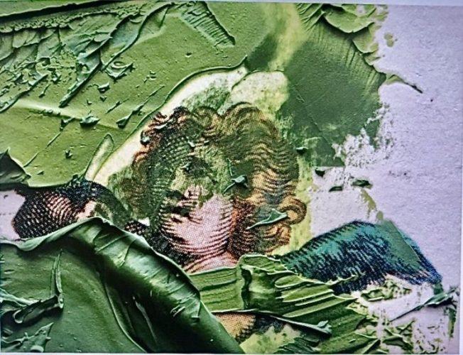 Paixões do arquiteto Chicô Gouvea. uma foto de um anjo com pinceladas fortes em tinta verde.