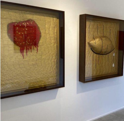 Quadros em uma exposição de artista plástico Anna Paola Protasio. tapeçaria com relevo formando uma folha