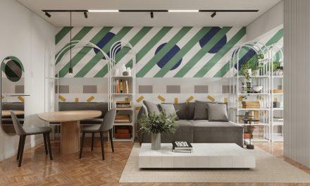 Apartamento com cores e grafismo