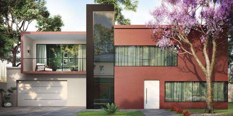 Tintas Eucatex dá dicas sobre como as cores podem influenciar o humor na quarentena. Fachada de um casa, com dois andares, pintada com uma cor terrosa