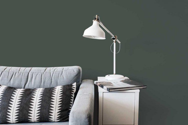 Tintas Eucatex dá dicas sobre como as cores podem influenciar o humor na quarentena. Detalhe de um parede pintada de verde bem fechado, escuro. Com um sofá cinza